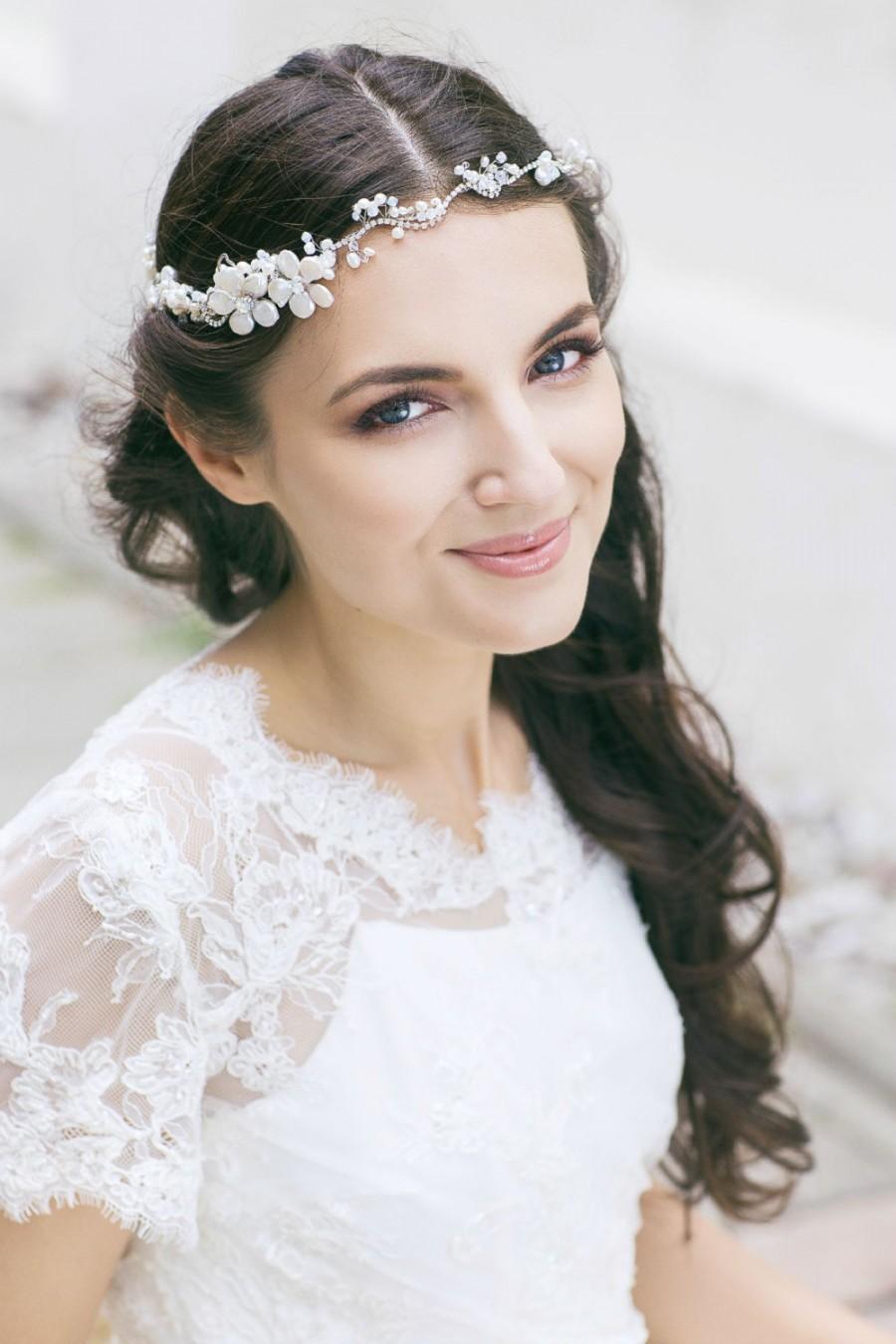 Wedding Headpiece  Bridal Hair Piece  Wedding Floral Hair Accessories  Bridal Halo Circlet ...