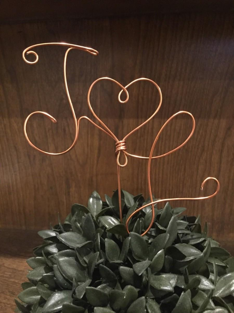 Mariage - Custom Wedding Cake Topper Wire Rustic Country Initials Heart Love Copper Birthday