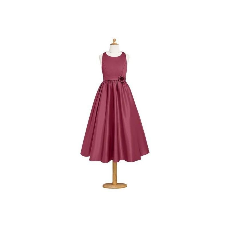 Wedding - Mulberry Azazie Coraline JBD - Strap Detail Tea Length Scoop Satin Dress - Charming Bridesmaids Store