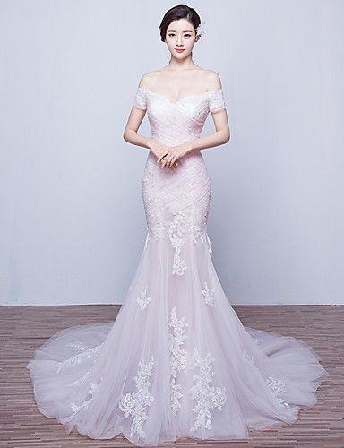 Mariage - Trumpet / Mermaid Wedding Dress Court Train Off-the-shoulder Tulle With Appliques