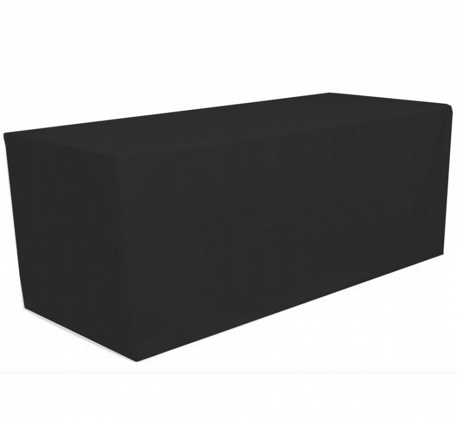 Свадьба - Black 6' ft. Fitted Polyester Tablecloth Rectangular Table Cover For Wedding Banquet Party Trade Show