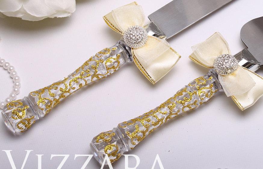 Wedding Server Set Gold Hand PAINTED Cake Knife Serving Royal