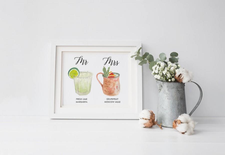 Mariage - Personalized Painted Signature Drinks Sign, Custom Illustration Signature Drinks, Cusom sign, Custom Watercolor, Custom Painting, Wedding