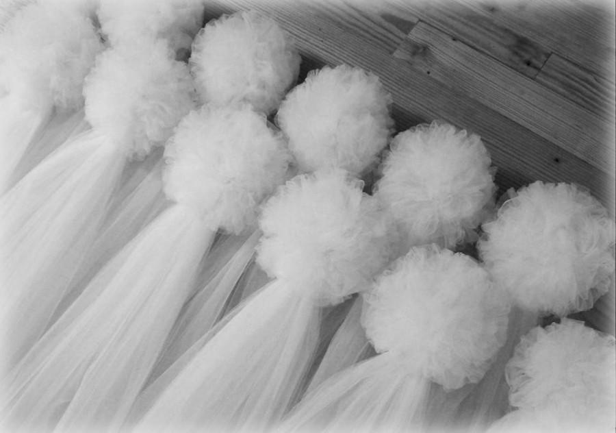 Mariage - Tulle Pew Bows, Quinceanera, Church Pew Decor, White Pew Bows, Ivory, Traditional Pew Bows, Formal Wedding Decoration, Aisle Decor