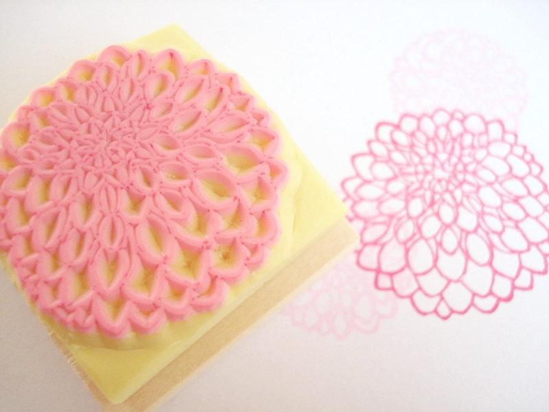Wedding - Dahlia stamp, DIY wedding, Flower stamp, Invitation stamp, Doily decoration, Garden wedding, Kawaii stationery, Gerbera, Chrysanthemum,