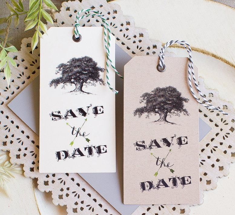 Wedding - Vintage Wedding Save the Date  Hinged Shipping Tags Oak Tree Woodland Southern Wedding