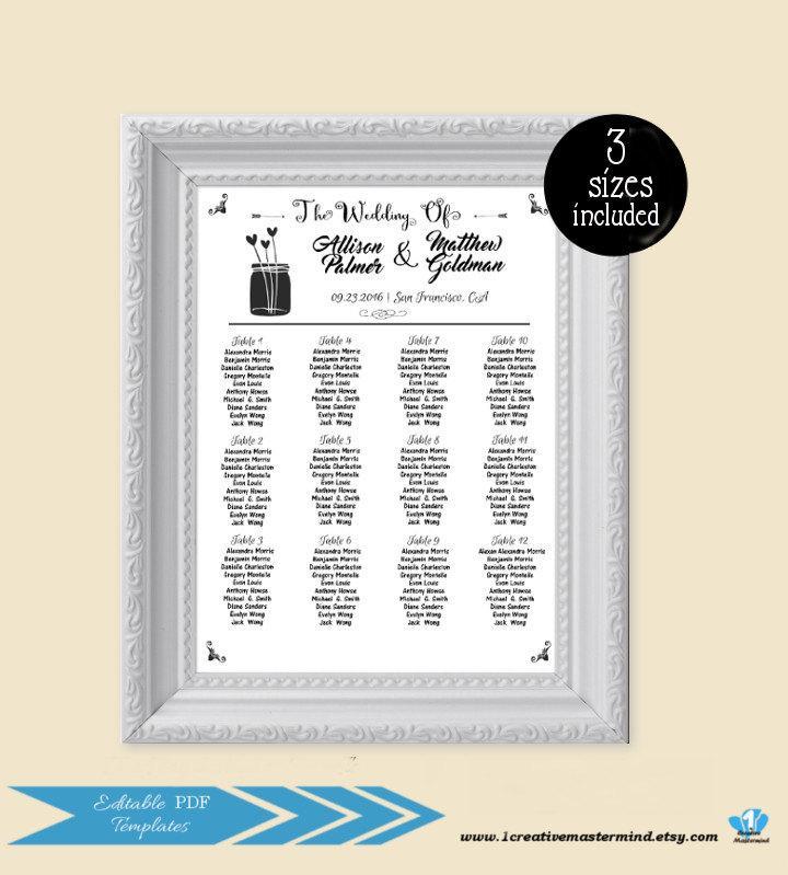 diy wedding seating chart editable seating plan template seating