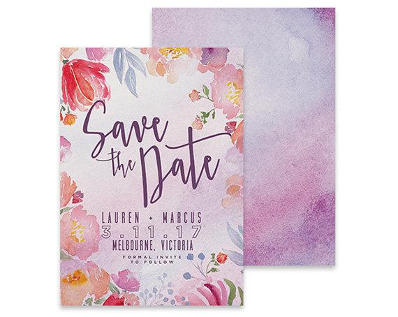 Hochzeit - Watercolor Save the Date Invitation