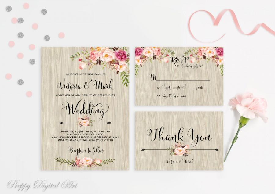 Hochzeit - Floral Wedding Invitation Printable Wedding Invitation Suite Rustic Wedding Invite Boho Wedding Invite Peonies Wedding Invite Digital File