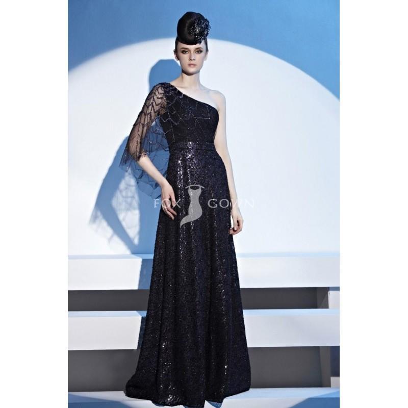 Wedding - Schwarz a-Line Stock Länge One-Schulter Perlen Illusion schier funkelnde Pailletten Prom Kleid - Festliche Kleider