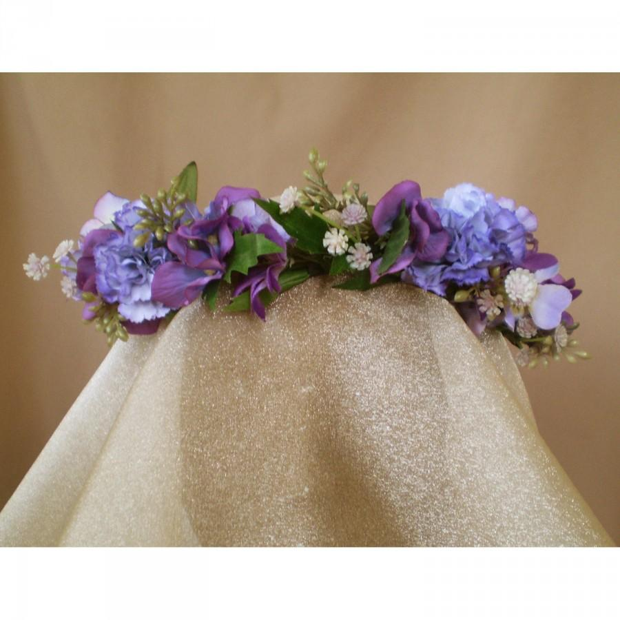 Mariage - Floral head wreath carnation bridal flower crown boho renaissance faerie wedding costume accessory fairy cosplay Victorian style bride