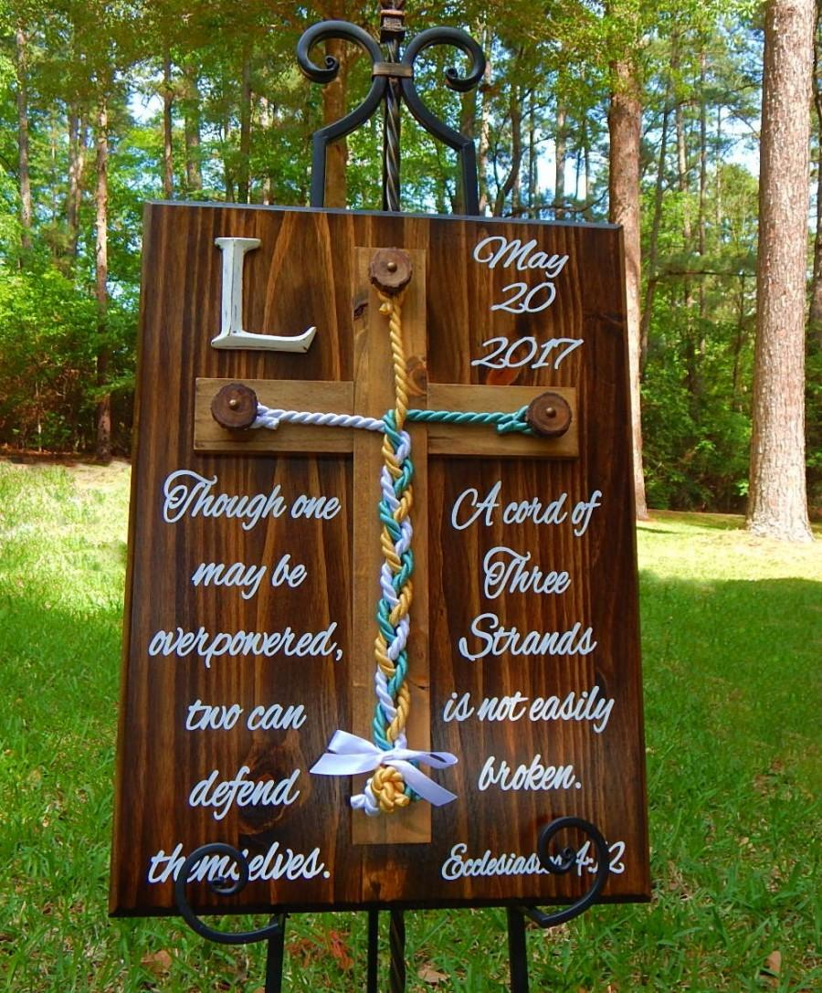 Wood Cross Unity Braids Rustic Wedding Cord Of Three