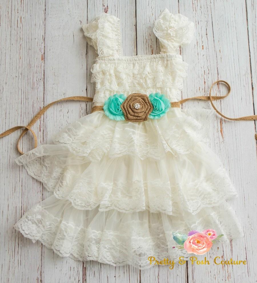 Burlap Flower Girl Dress Lace Baby Dress Ivory Rustic Lace Flower Girl dress