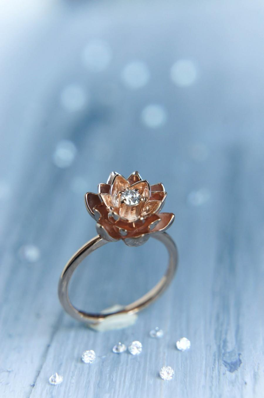 Mariage - 18K gold flower engagement ring, diamond ring, rose gold ring, unique engagement ring, proposal ring, lotus ring, gold ring, red gold ring