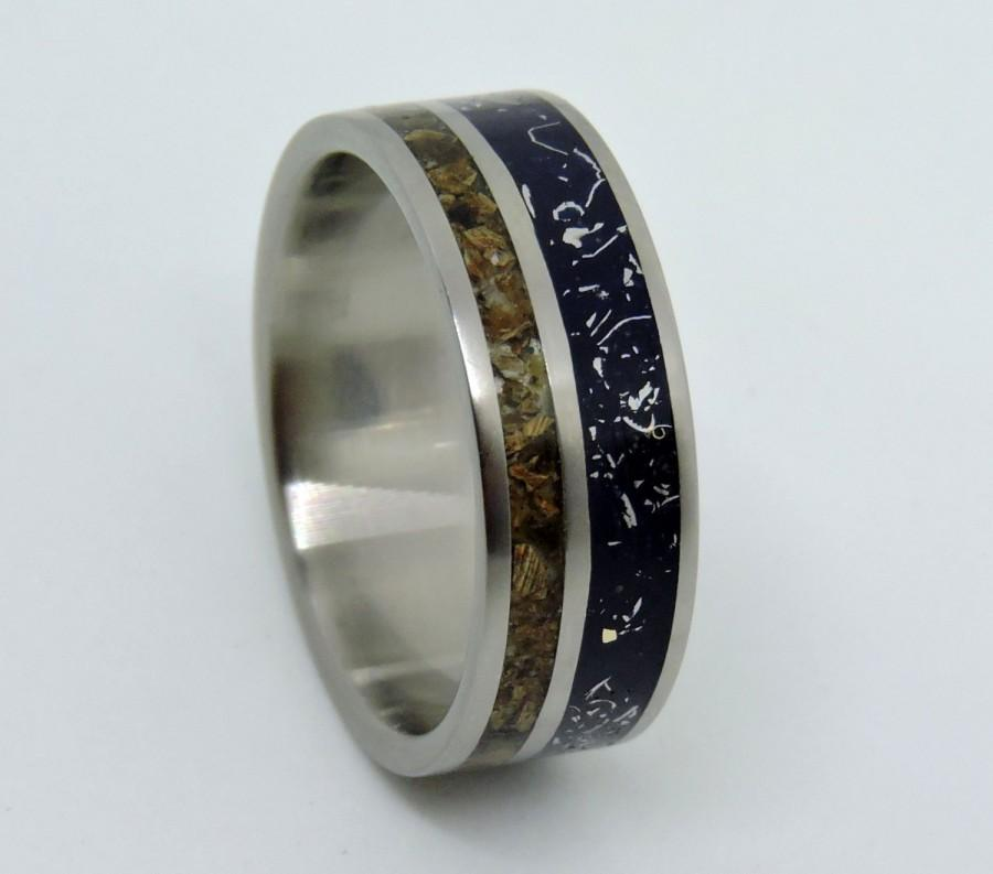 re wedding band by rose bone with imagined johan ring gold collections meteorite titanium and dinosaur dino inlays jewelry rings