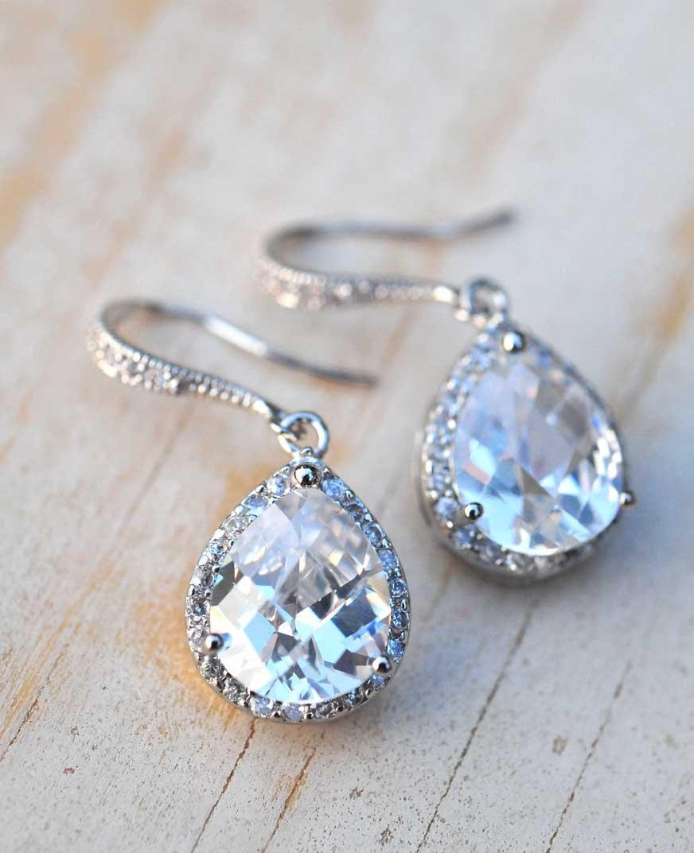 Mariage - Wedding Jewelry Bridal Earrings Pear Cubic Zirconia CZ Teardrop Dangle Drop Earrings Sterling Silver