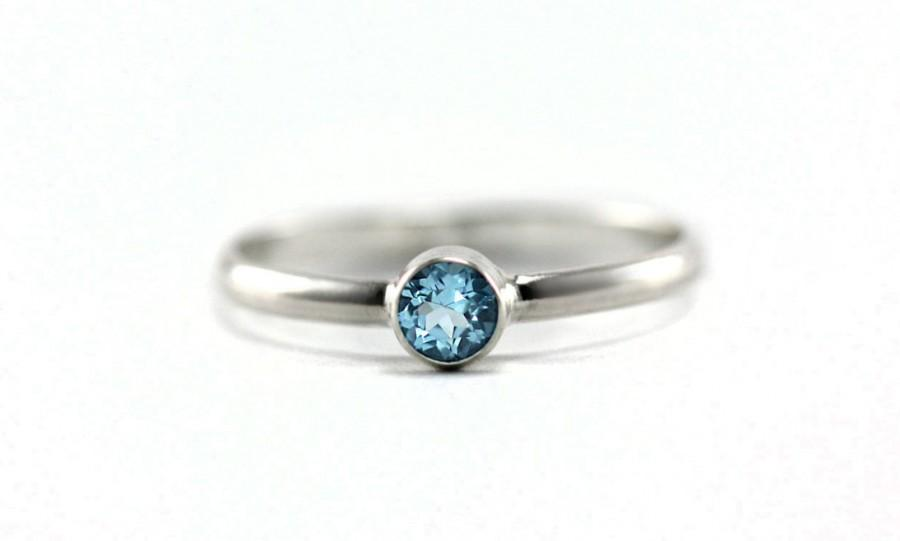 Mariage - Simple Swiss Blue Topaz Ring - Sterling Silver, 14k Yellow Gold, Rose Gold, Palladium White Gold - SImple Engagement Ring, Promise Ring