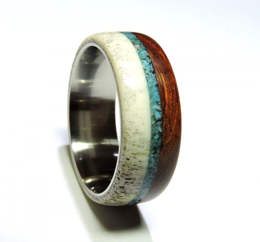 Mariage - Mens Wedding Band,Desert Iron Wood and Antler with Titanium, Turquoise inlay ,
