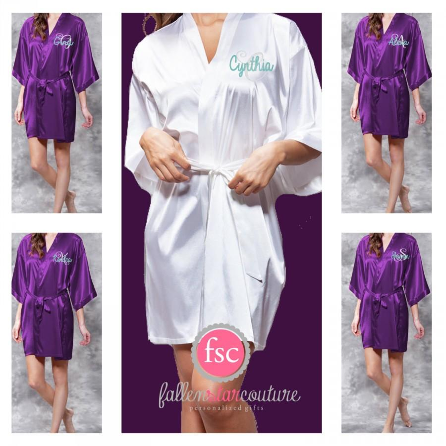 Hochzeit - Monogrammed Bridesmaid Robes , SATIN wedding robes , bridesmaid gifts , personalized wedding robes , monogrammed satin robe