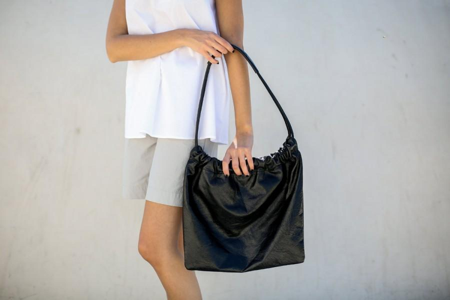 Свадьба - Leather Hobo Bag, Medium Leather Bag, Women Every Day Tote Bag, Shiny Black  Leather Purse, Leather Shoulder Bag