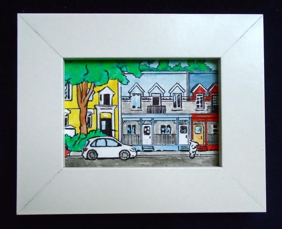 """Свадьба - Journey Through Montreal, Quebec, Canada #232 (ORIGINAL MINIATURE PAINTING) 2.5"""" x 3.5"""" aceo in a 4"""" x 5"""" frame by Mike Kraus"""