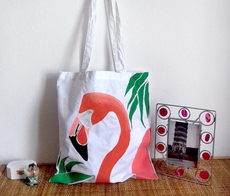 Свадьба - Flamingo shoulder bag/ tote bag hand painted/pink/africa exotic animals/animal bag /shopping bags /women's handbag/women's gift/cotton