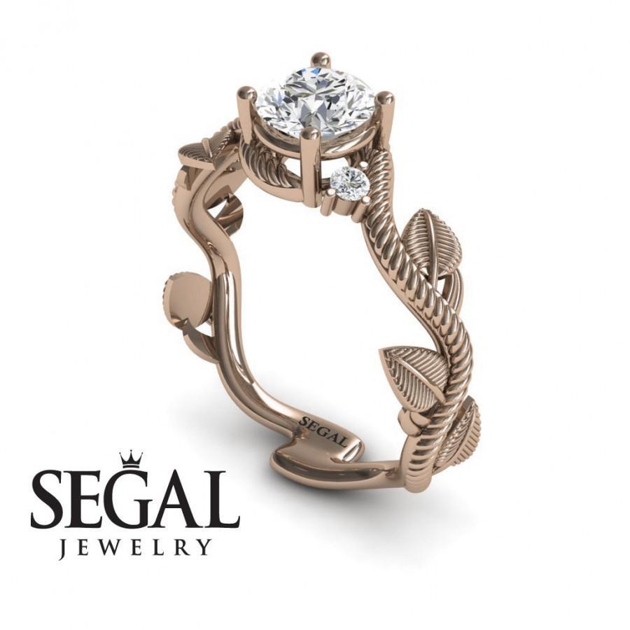 Mariage - Rose Gold Engagement Ring Moissanite Ring Leaf Engagement Ring Twig Ring Vintage Ring 14k Rose Gold Engagement Ring - Allison