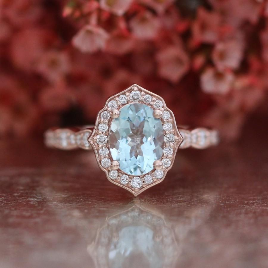 Mariage - Vintage Floral Oval Aquamarine Engagement Ring in 14k Rose Gold Scalloped Diamond Wedding Band 8x6mm Oval Cut Gemstone Anniversary Ring