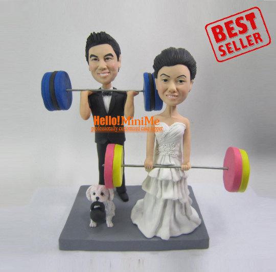 Свадьба - Cake Topper Wedding Cake Topper bobble head Custom cake topper Wedding topper bobblehead Cake toppers Weight lifting Cake toppers - CT WL03