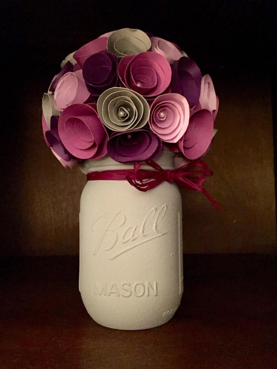 Rustic Shades Of Purple Paper Flower Bouquet In A Hand Painted Grey