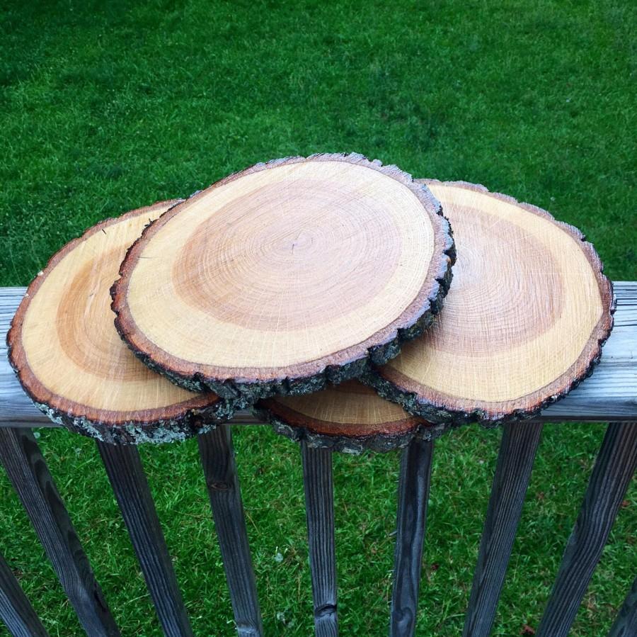 "Hochzeit - 10"" TREATED wood slice! 10 inch, wood slices, 10"", large wood slices, large wood rounds, hardwood, tree slices, with bark, treated wood slab"
