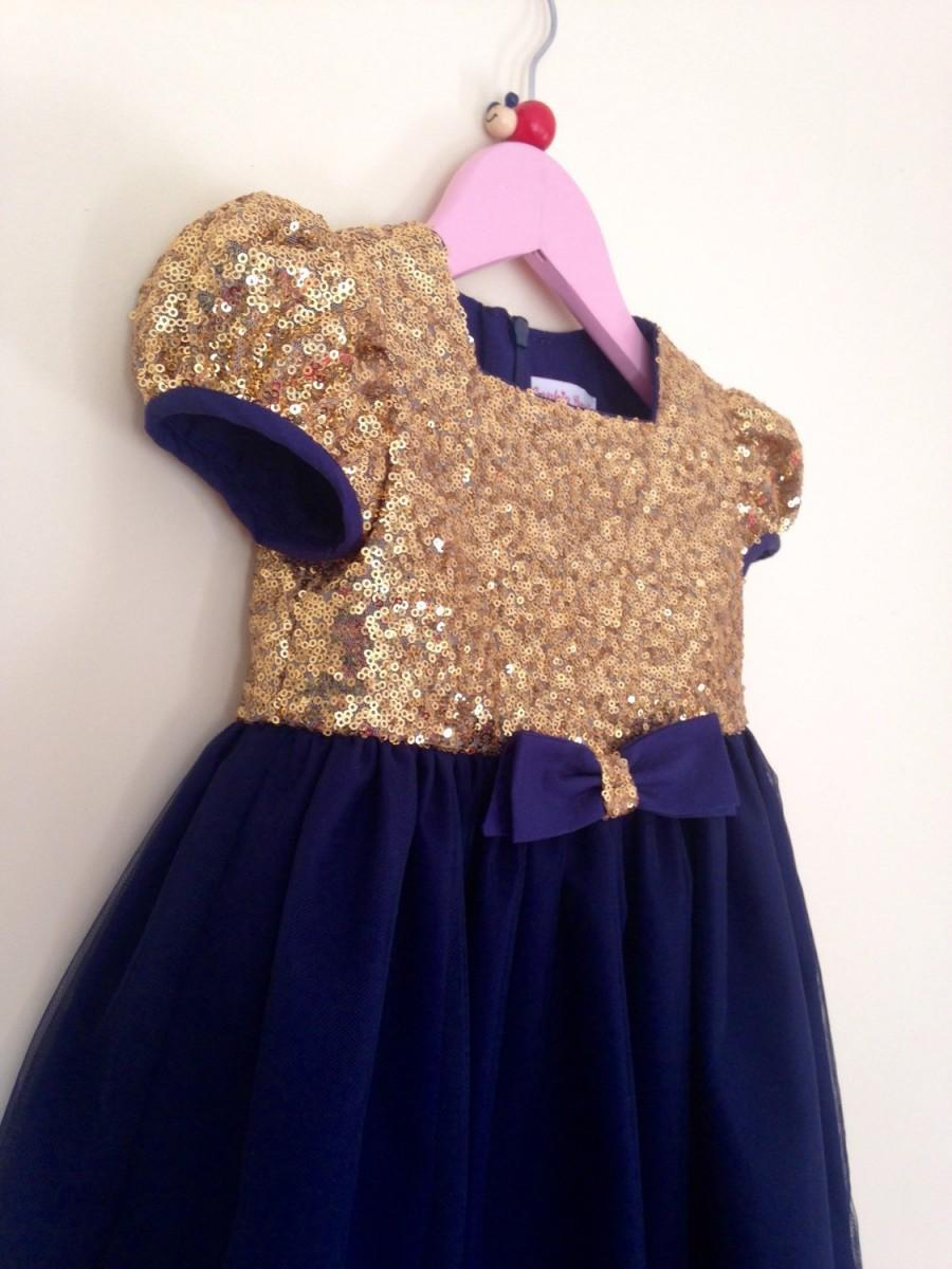 Girls Gold Sequin And Navy Tulle Flower Girl Dress Girls Party