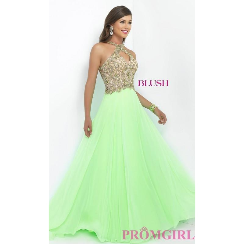 Mariage - Blush High Neck Prom Dress with Beaded Top - Discount Evening Dresses