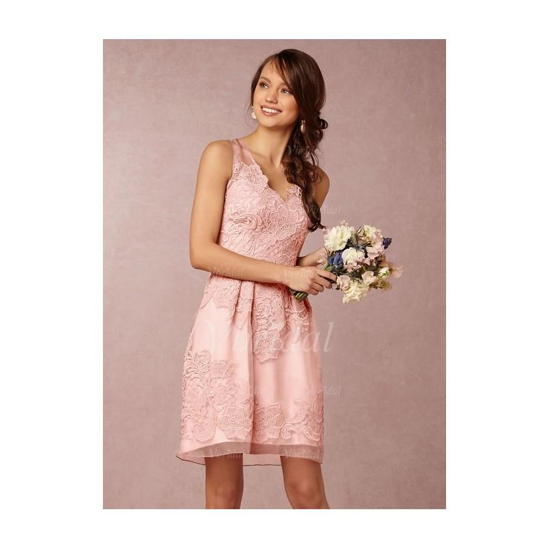 Wedding - A-Line/Princess V-neck Knee-Length Organza Bridesmaid Dress With Lace - Beautiful Special Occasion Dress Store