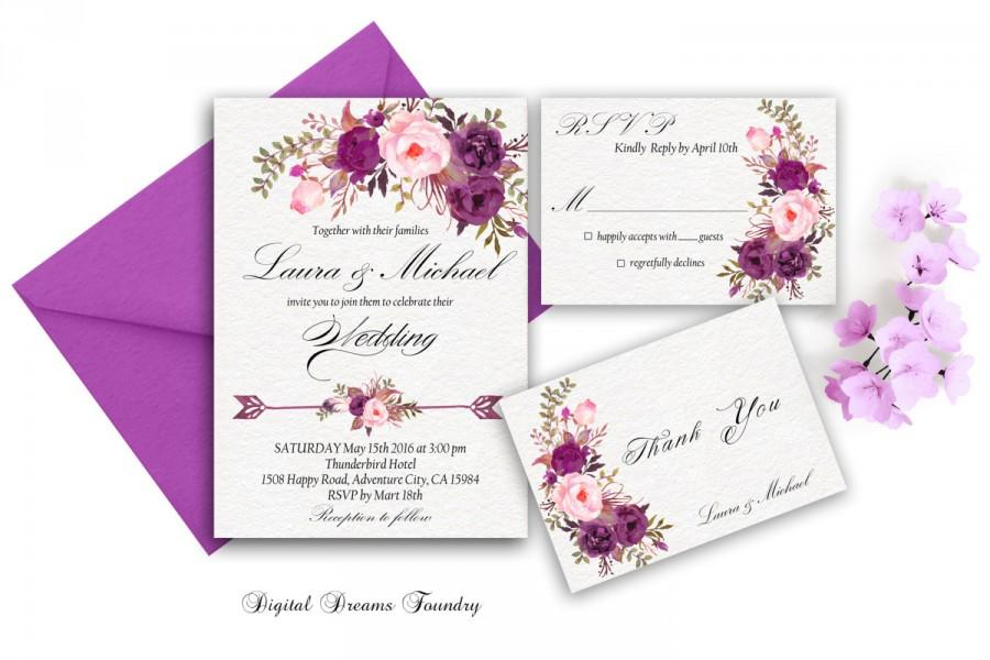 Purple Wedding Invitation Printable Floral Wedding Invite Boho ...