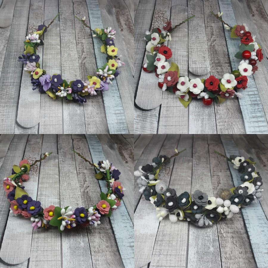 Bridal pink gray blue white purple yellow black green reds summer rustic  gift flower crown 73f2533870f
