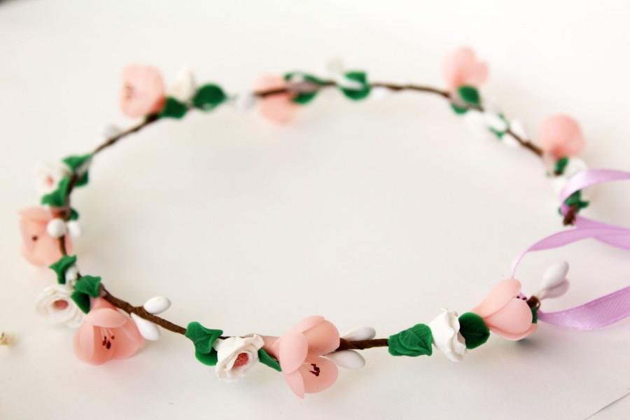 Mariage - Cherry blossom bridal wreath, Bridal hair headband, floral crown, Rustic woodland, pink flower headpiece, sakura, Boho wedding, white rose