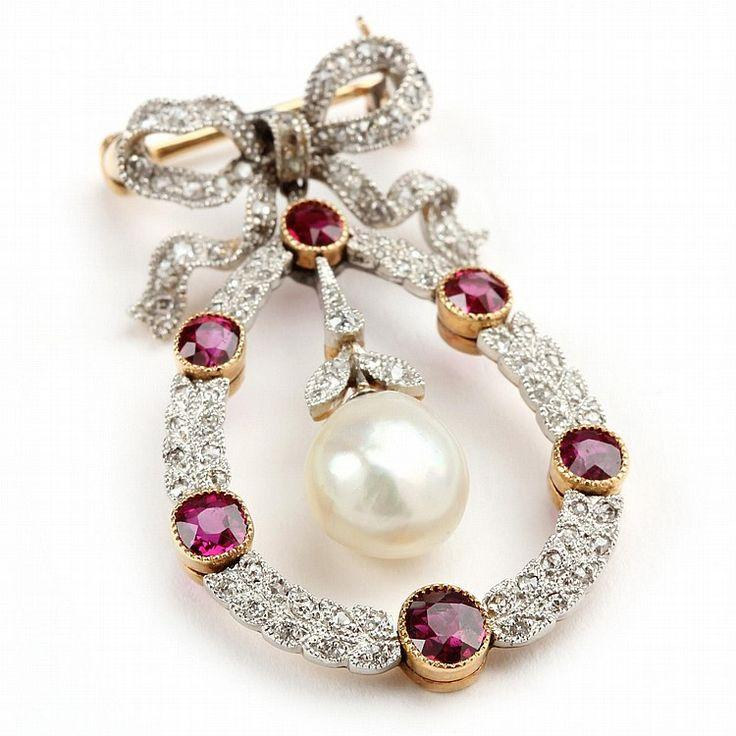 3677a3fa1 Edwardian Platinum Topped Gold, Ruby, Diamond, And Natural Pearl Brooch