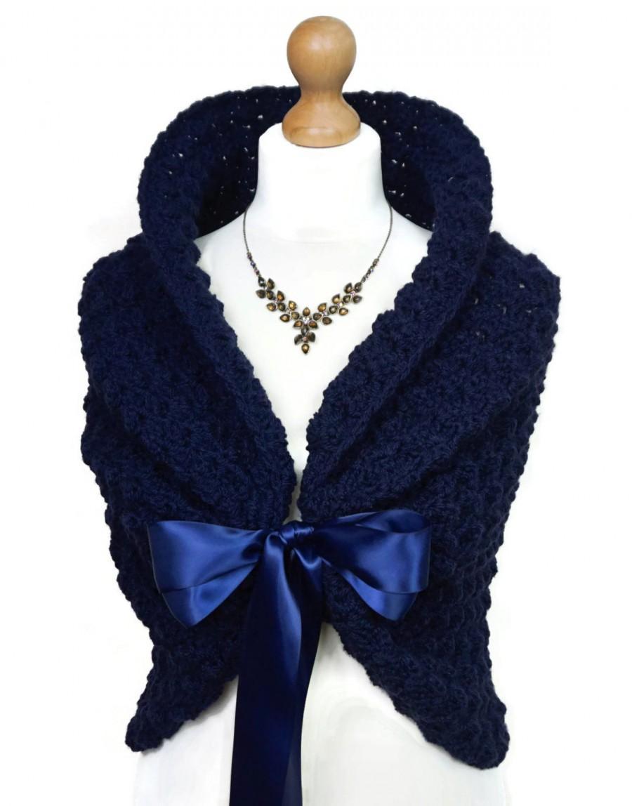 زفاف - Navy Blue Wedding Shawl, Crochet Shoulders Wrap, Spring Wedding Cover Up, Crochet Shawl, Navy Capelet Wrap Shawl, Wedding Cape Bolero Jacket