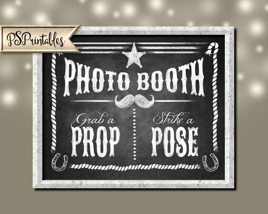 photograph regarding Photo Booth Sign Printable called Printable Western Picture Booth Signal 5x7, 8x10 AND 11x14 - Do it yourself
