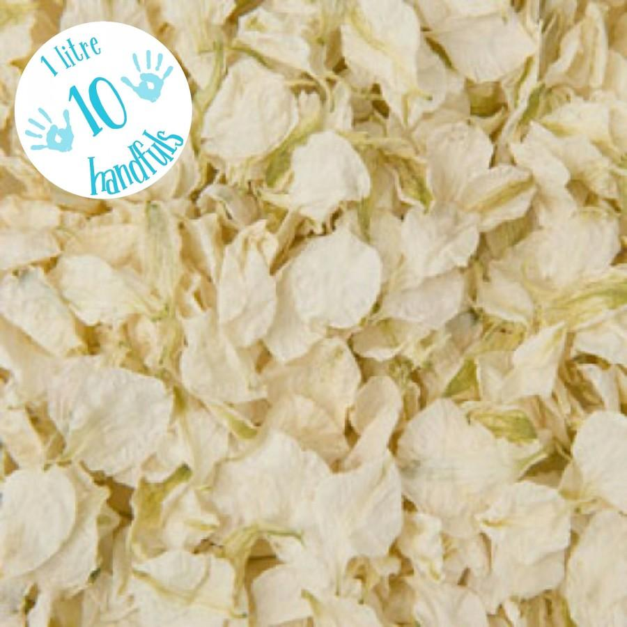 Wedding - 1 Litre approx 10 guests Natural Wedding Confetti Eco-Friendly Biodegradable Dried Delphinium Petals Vanilla, White / Ivory