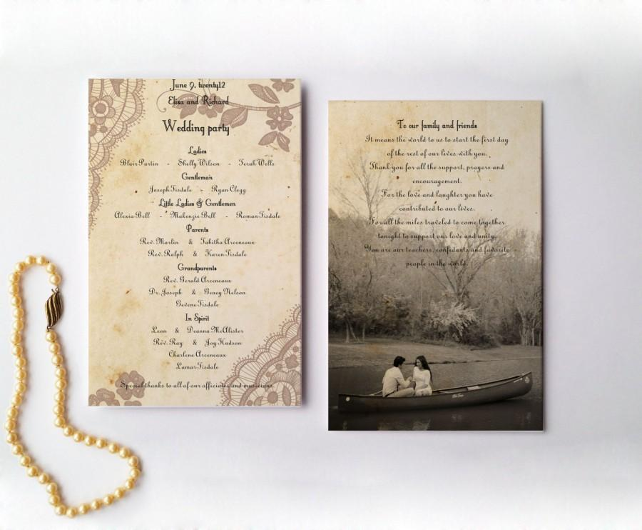 Mariage - RUSTIC LACE WEDDING program - with photo and thank you customizable printable