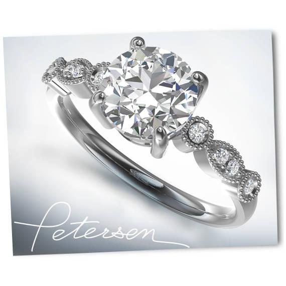Mariage - Moissanite Art Deco Engagement Ring - Round Cut - Vintage Ring Promise Ring Wedding Ring Antique Style - Milgrain White Gold Moissanite Ring