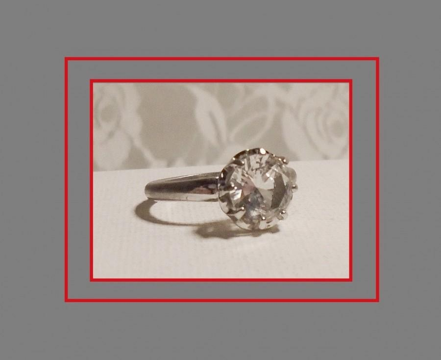 Свадьба - Art Deco Engagement Ring, Antique French Paste Ring, Early UNCAS, 1930s Paste Ring, Beautiful 8 Prong Crown Setting, Large Solitaire Ring.