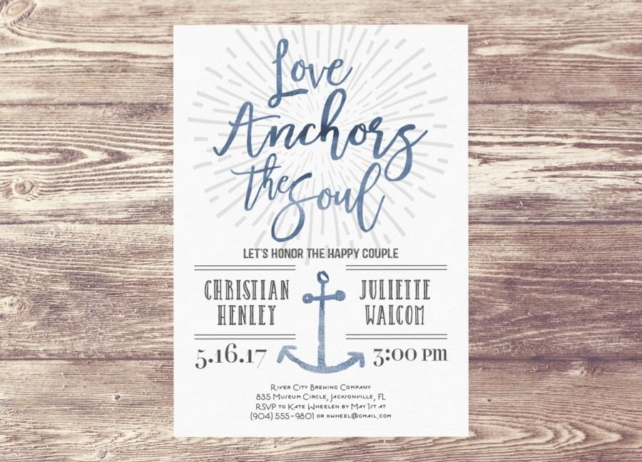Love Anchors The Soul Couples Shower Party Invitation, Nautical ...