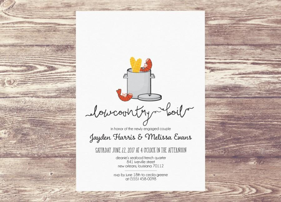 Printed Lowcountry Boil Invitation Low Country Boil Invitation