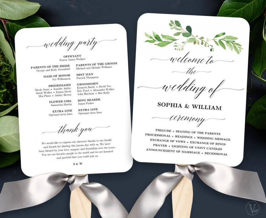 Garden greenery wedding fan program printable wedding fan for Diy wedding program fan template