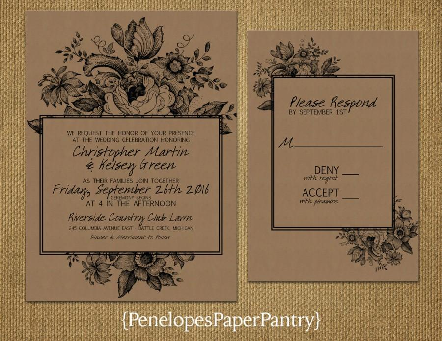 Vintage Floral Kraft Paper Wedding Invitation,Elegant Floral Design,Black  Text,Romantic,Custom,Printed Invitation,Wedding Set,Kraft Envelope