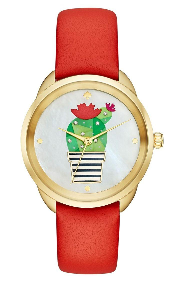 Свадьба - Kate Spade Cactus Crosstown Leather Strap Watch, 34mm