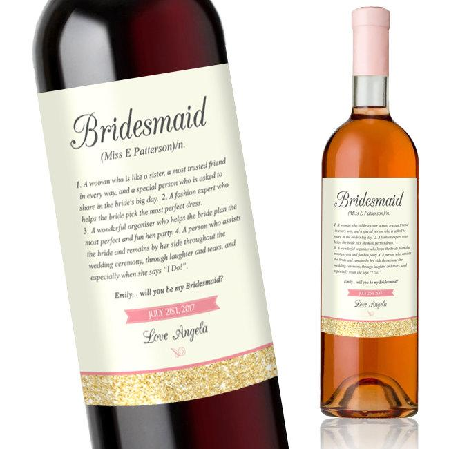 Wedding - Will You Be My Bridesmaid Wine Label